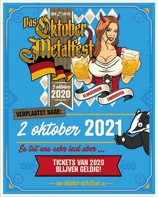 Das Oktober Metalfest verplaatst naar 2021
