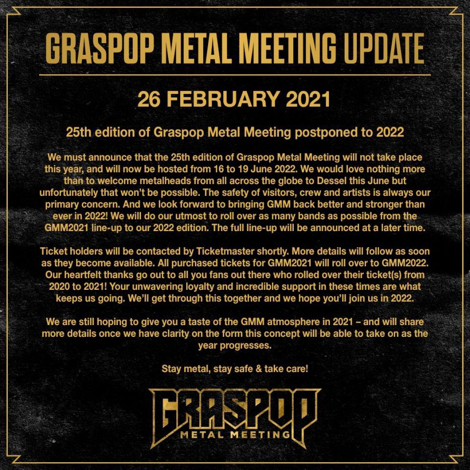 Graspop Metal Meeting moet ook 2021 overslaan
